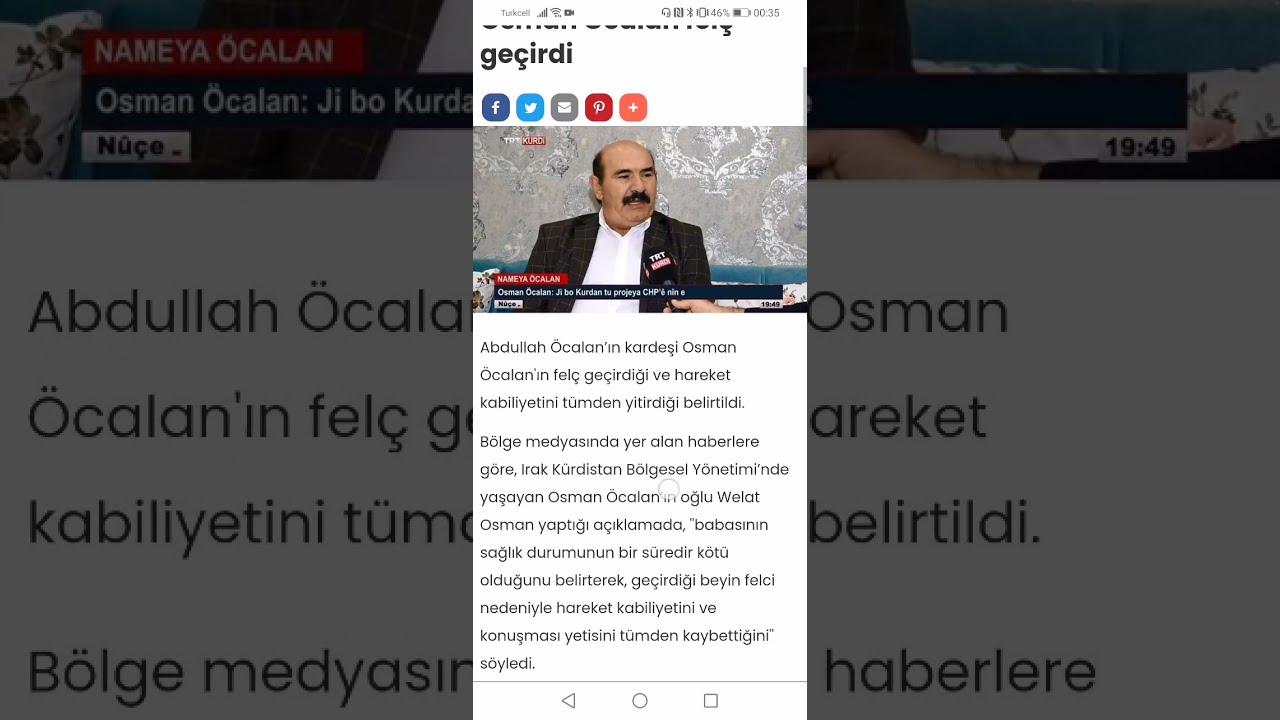 Osman Öcalan Beyin Felci Geçirdi !