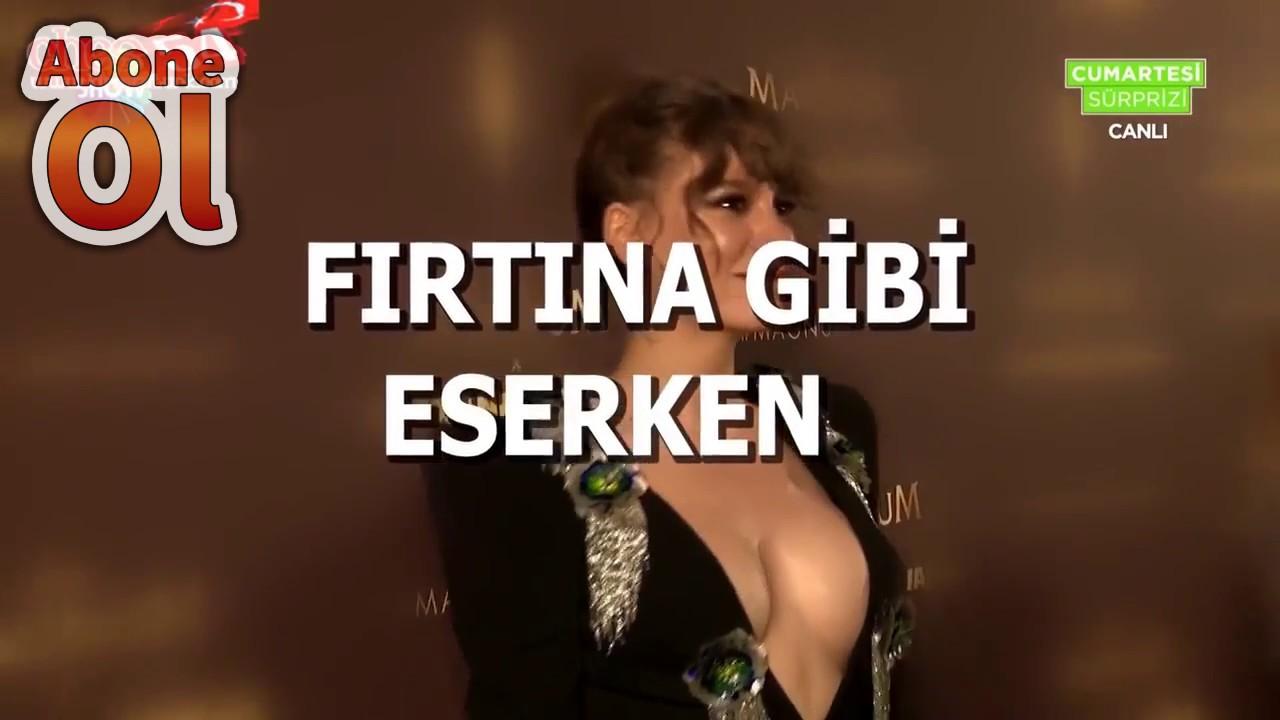 Serenay Sarıkaya göğüs dekolteli elbiseyle