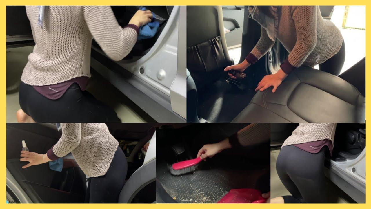 ASMR interior car cleaning, dusting, spraying, wiping, scrubbing   No Talking - Pt 1