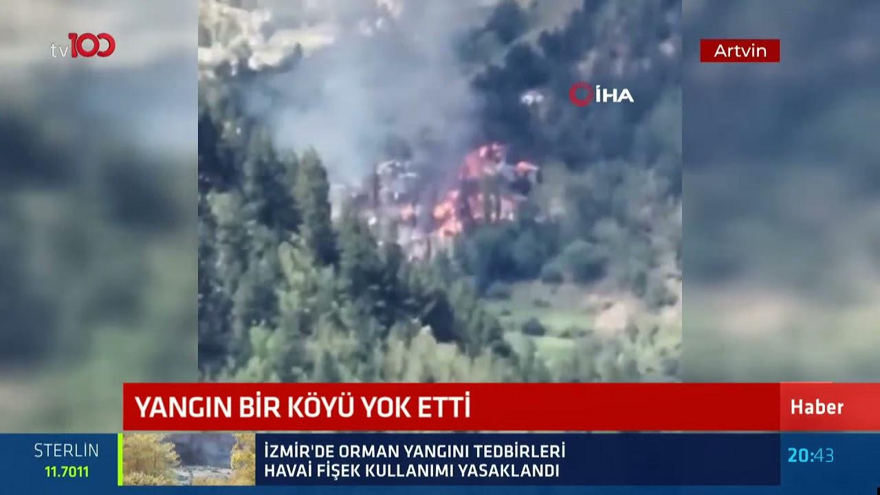 Artvin'de yangın bir köyü yok etti!