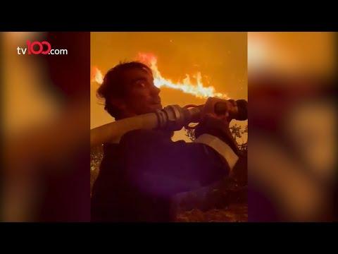 İbrahim Çelikkol termik santralin önünde yangını söndürmeye çalıştı!